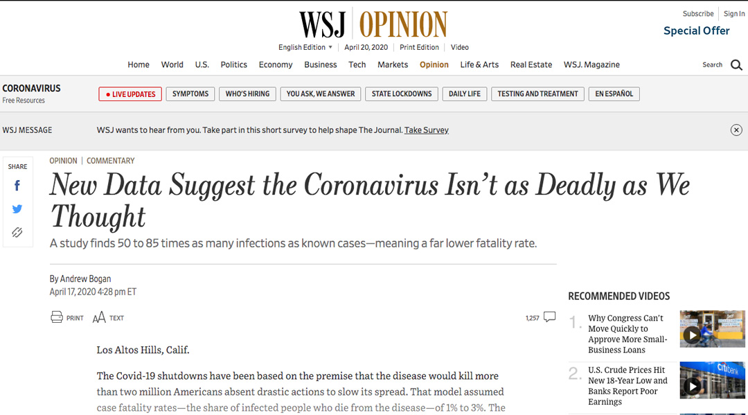 Coronavirus Facts Wsj New Data Suggests Coronavirus Isnt As Deadly