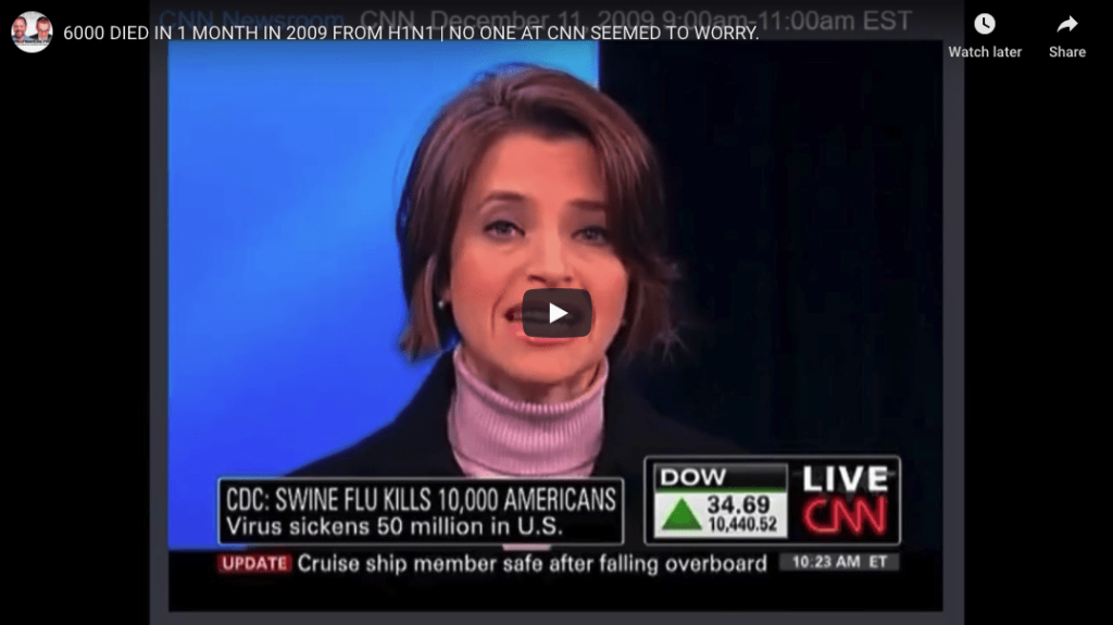 Covid Timeline - 6,000 died in 1 month H1N1 - CNN didn't care