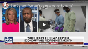 Covid Timeline - Ben Carson - We can't operate out of hysteria